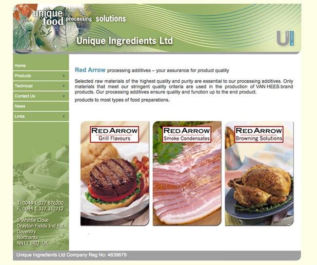 Unique Ingredients Site Design