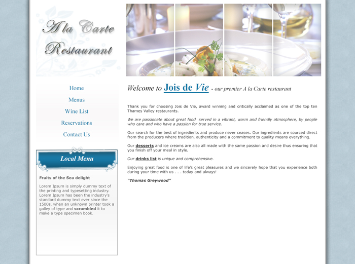 A la Carte Site Design